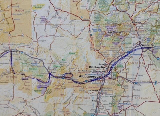 Route après Santa Fe, déviant de la R66 à l'ouest.
